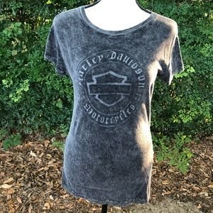 Harley-Davidson Distressed Gray Fitted T-shirt